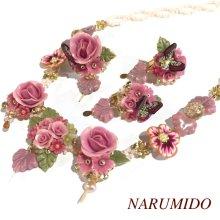 他の写真1: 売り切り!薔薇とビオラのピンクネックレス