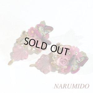 画像2: 売り切り!薔薇と蝶のピンクピアスorイヤリング